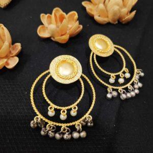 Concentric Multidrop Pearl Ghungroo Earrings