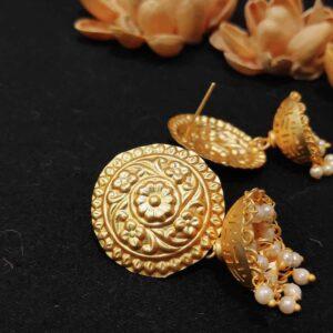 Temple Jewellery Round Stud Pearl Jhumki Earrings