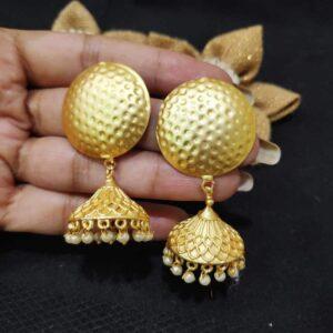 Hand Textured Round Top Pearl Jhumki Earrings