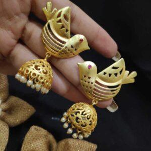 Handcrafted Flying Bird Pearl Jhumki Earrings