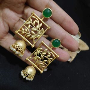 Goldplated Filigree Frame Green Onyx Jhumkas