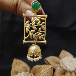 Goldplated Filigree Frame Green Onyx Jhumkas
