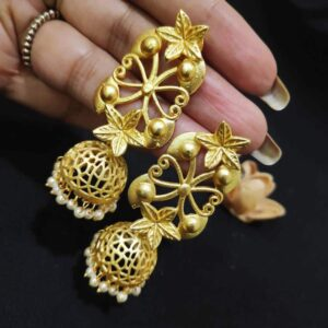 Goldplated Floral Filigree Pearl Jhumka Earrings
