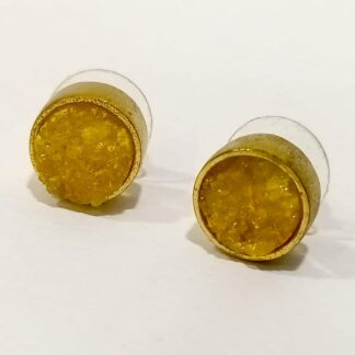 Yellow Druzy Golden Rimmed Studs