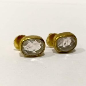 Classic Studs set in Goldplated Bezel with Quartz