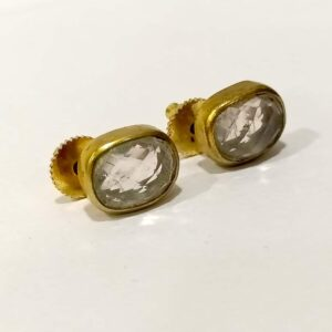 Classic Studs set in Gold Plated Bezel with Quartz Side