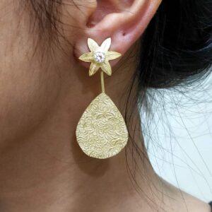 Two Way Golden Earrings with American Diamonds on Body