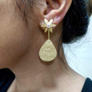 Two Way Golden Earrings with American Diamonds on Ears