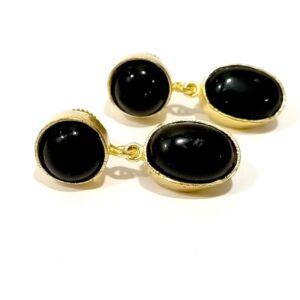 Classic Black Onyx Dangler Earrings set in Gold Plated Bezel