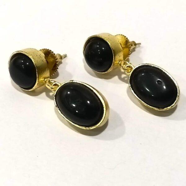 Classic Black Onyx Dangler Earrings set in Gold Plated Bezel Side
