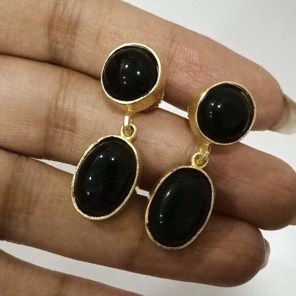 Classic Black Onyx Dangler Earrings set in Gold Plated Bezel in Hand