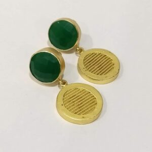 Textured Coin Drop Earrings with Bezel Set Green Onyx