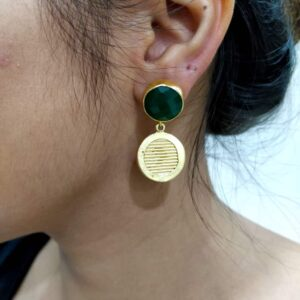 Textured Coin Drop Earrings with Bezel Set Green Onyx on Ears