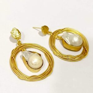 Handcrafted Nest Earrings with Baroque Pearls and Textured Top
