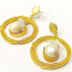 Handcrafted Nest Earrings with Baroque Pearls and Textured Top Side