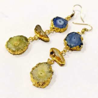 Golden Danglers with Baroque Pearls and Multicolor Agates