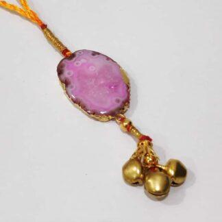 Colourburst Natural Pink Gemstone Lumba Rakhi for Bhabhi Close