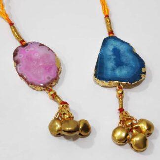 Colourburst Natural Gemstone Lumba Rakhi for Bhabhi (Set of 2)