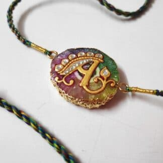 Customised Alphabet A Natural Gemstone Rakhi Main