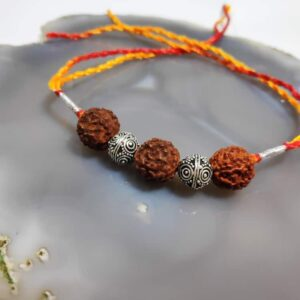 Sterling Silver Beads and Three Rudraksh Rakhi