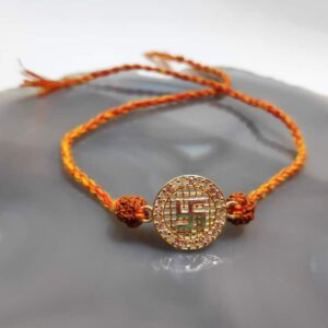 Goldplated 925 Sterling Silver Satiya and Rudraksh Rakhi Main