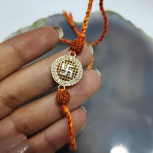 Goldplated 925 Sterling Silver Satiya and Rudraksh Rakhi Hand