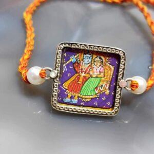 Sterling Silver Miniature Hand Painted Radha Krishna Rakhi Main