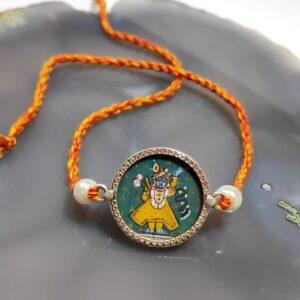 Sterling Silver Miniature Hand Painted Krishna Rakhi Close