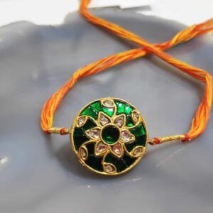 Reversible Round Gold Rakhi with Kundan and Enamel Back Main
