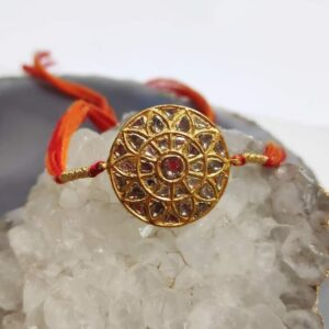 Mandala Rakhi in 22K Gold with Diamond Kundan Front