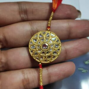 Mandala Rakhi in 22K Gold with Diamond Kundan Hand