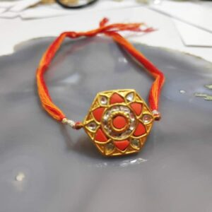 Hexagon Mandala Rakhi in 22K Gold with Diamond Kundan