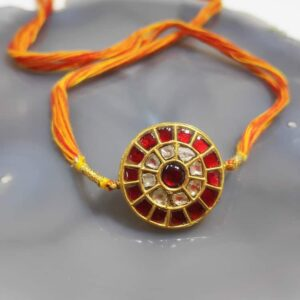 Divya Heritage Rakhi in 22K Gold & Kundan with uncut Diamonds Main