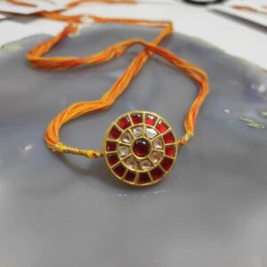 Divya Heritage Rakhi in 22K Gold & Kundan with uncut Diamonds front