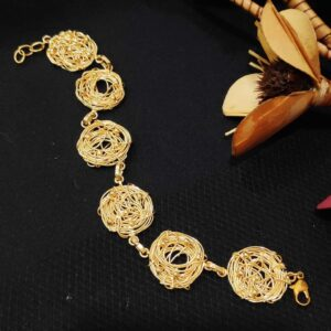 Handmade Nested Wire Texture Flexible Bracelet Side 1