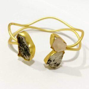 Handmade Baroque Gemstones Open Oval Bangle Side 1