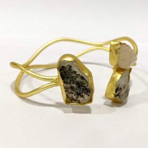 Handmade Baroque Gemstones Open Oval Bangle