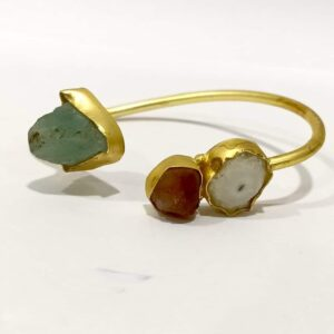 Oval Cuff Bangle with Baroque Pearl and Gemstones