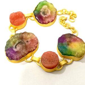 Flexible Rainbow Bracelet with Adjustable Chain Side 1