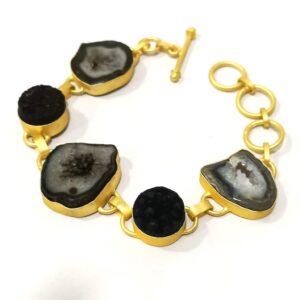 Flexible Adjustable Bracelet with Raw Black Stones Side