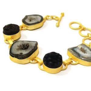 Flexible Adjustable Bracelet with Raw Black Stones