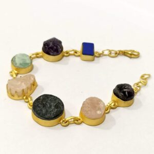 Mix Natural Gemstones Bracelet with Adjustable Chain