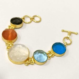 Flexible Multicolor Bracelet with Adjustable Toggle Chain