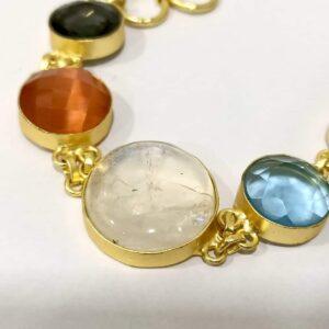 Flexible Multicolor Bracelet with Adjustable Toggle Chain Closeup