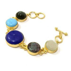 Flexible Multicolor Bracelet with Semiprecious Stones