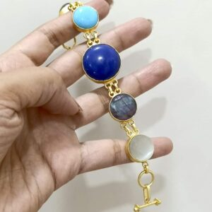 Flexible Multicolor Bracelet with Semiprecious Stones Hand