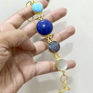 Flexible Multicolor Bracelet with Semiprecious Stones Hand
