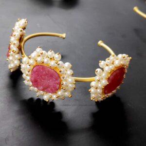Lipstick Pink Druzy Pearl cuff Bracelet
