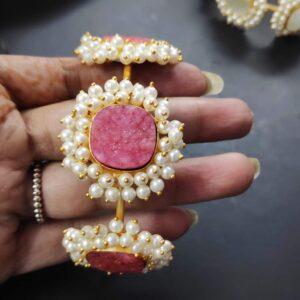 Lipstick Pink Druzy Pearl cuff Bracelet Body
