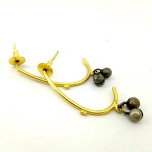Curved J Hoop Earrings with Ghungroo Drop